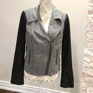 Daniel Rainn zip up blazer w/ vegan leather sleeve